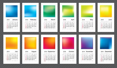 emphasis: Creative calendar 2018, week start on sunday.