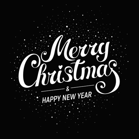 Merry Christmas & Happy New Year - golden lettering on dark background - postcard,  poster, label, bookmark, print design