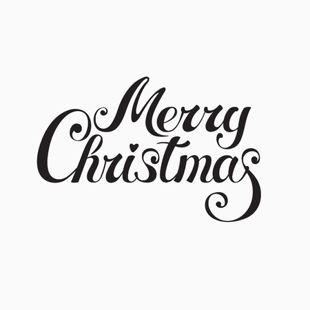 Merry Christmas & Happy New Year - golden lettering on dark background - postcard, poster, label, bookmark, print design Illustration