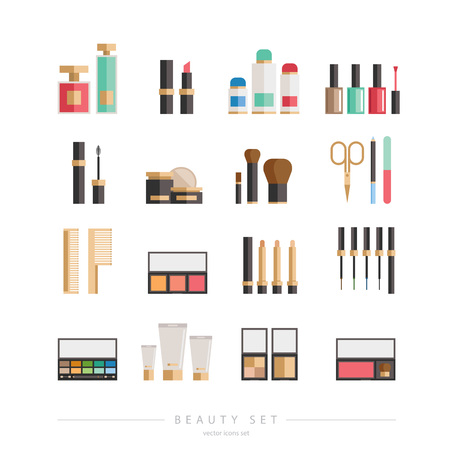 corrector: Beauty products collection - flat style  illustration, big set of tubes, bottles, lipsticks, palettes, enamels and other. For web and print design - poster, card, label. Illustration