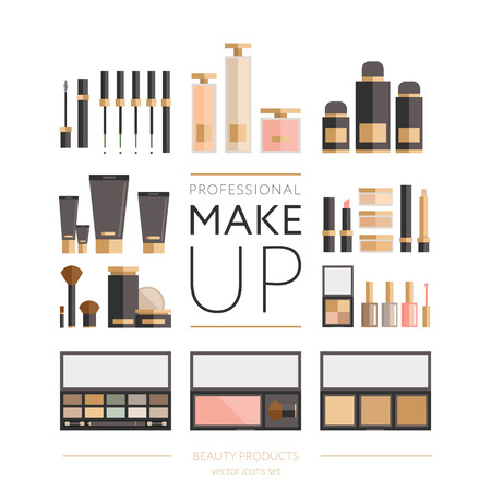 Beauty products collection - flat style illustration, big set of tubes, bottles, lipsticks, palettes, enamels and other. For web and print design -  poster, card, label.