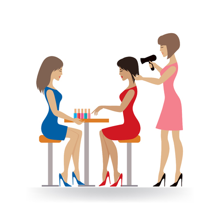 Young ladies in beauty salon - editable illustration
