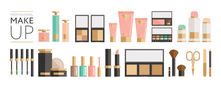 Beauty products collection - flat style illustration, big set of tubes, bottles, lipsticks, palettes, enamels and other. For web and print design - poster, card, label. Illustration