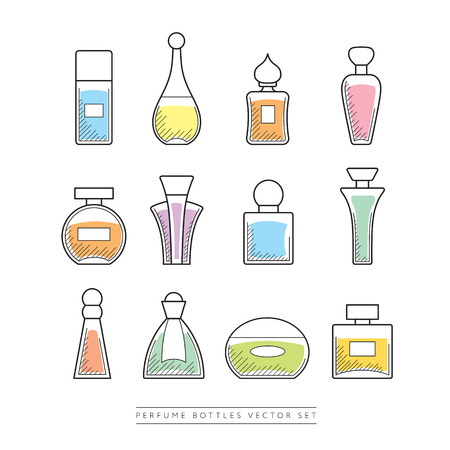 Multicolored perfume bottles  set - linear icons, easy to edit.