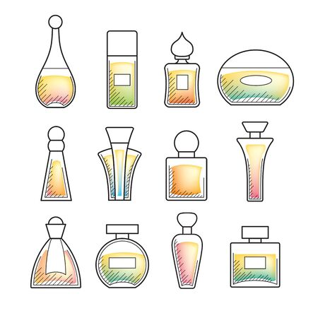 Multicolored perfume bottles set - linear icons, easy to edit. Illustration