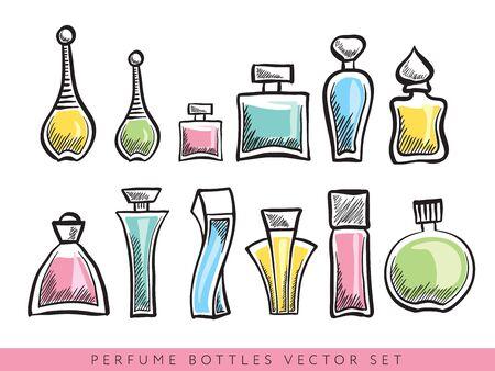 Set of different perfume bottles -  editable illustration. Stock Vector - 66775481