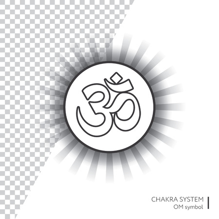 Symbol OM. Vector isolated minimalistic icon with transparent aura - for yoga studio, banner, poster.