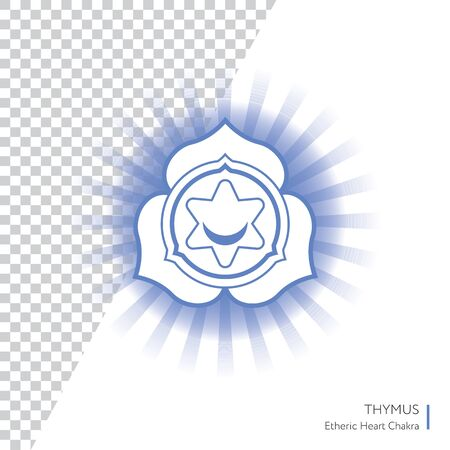 Thymus. Chakra vector isolated minimalistic icon with transparent aura - for yoga studio, banner, poster.