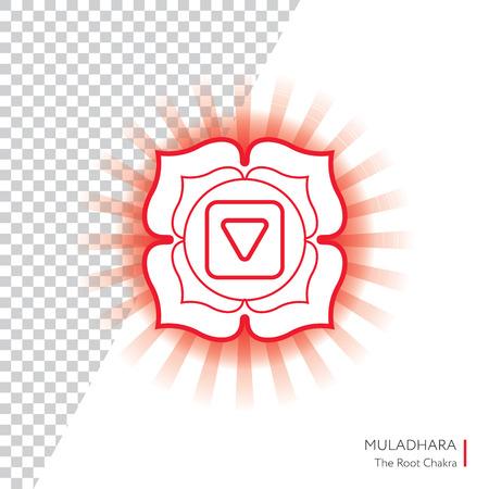 muladhara: Muladhara. Chakra vector isolated minimalistic icon with transparent aura - for yoga studio, banner, poster.