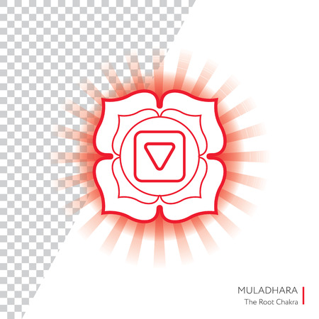 Muladhara. Chakra vector isolated minimalistic icon with transparent aura - for yoga studio, banner, poster.