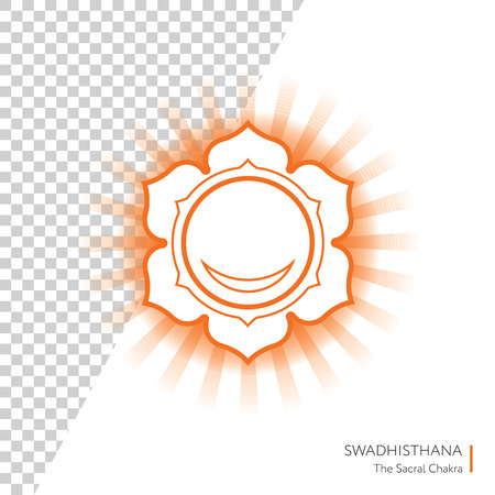 swadhisthana: Swadhisthana. Chakra vector isolated minimalistic icon with transparent aura - for yoga studio, banner, poster.