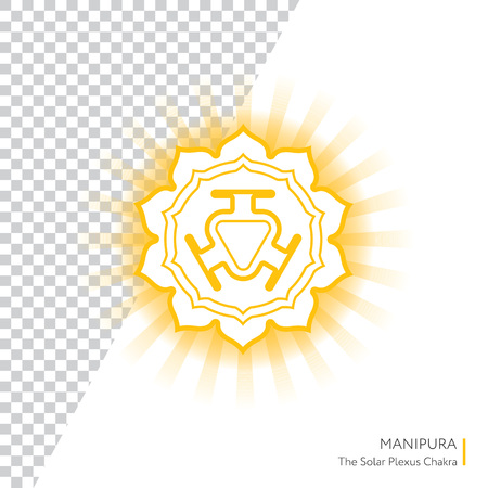 manipura: Manipura. Chakra vector isolated minimalistic icon with transparent aura - for yoga studio, banner, poster.