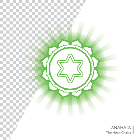 anahata: Anahata. Chakra vector isolated minimalistic icon with transparent aura - for yoga studio, banner, poster. Illustration