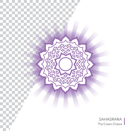 Sahasrara. Chakra vector isolated minimalistic icon with transparent aura - for yoga studio, banner, poster. Illustration