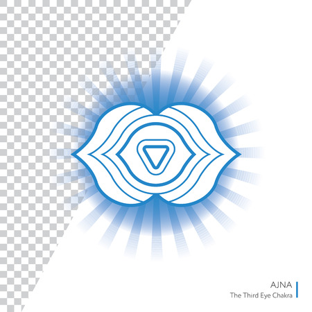 Ajna. Chakra vector isolated minimalistic icon with transparent aura - for yoga studio, banner, poster.