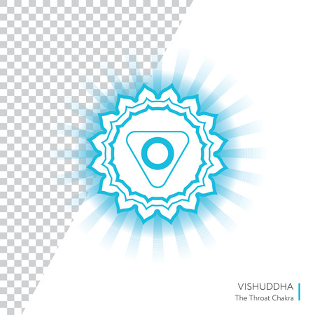 Vishuddha. Chakra vector isolated minimalistic icon with transparency - for yoga studio, banner, poster. Illustration
