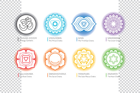 vishuddha: Chakras set with OM - ayurveda, spirituality, yoga symbols. Editable vector illustration, transparent circle around.
