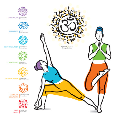 swadhisthana: Chakras set. Vector yoga asanas illustration. Healthy lifestyle. Meditation, aura and spiritual.