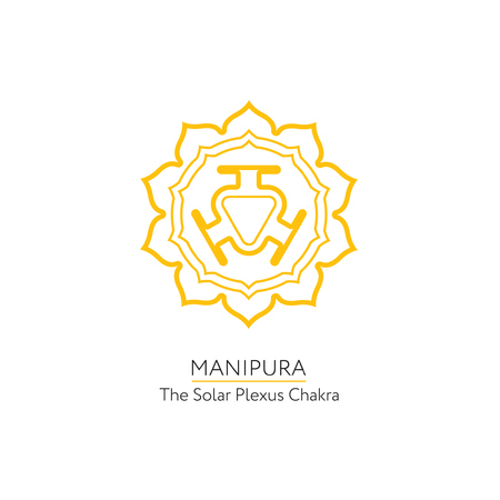 manipura: Manipura. Chakra vector isolated minimalistic icon