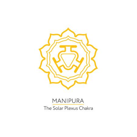 manipura: Manipura. Chakra vector isolated minimalistic icon