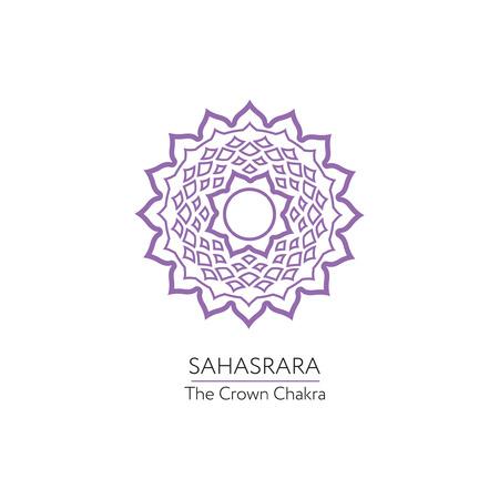 sanskrit: Sahasrara. Chakra vector isolated minimalistic icon Illustration