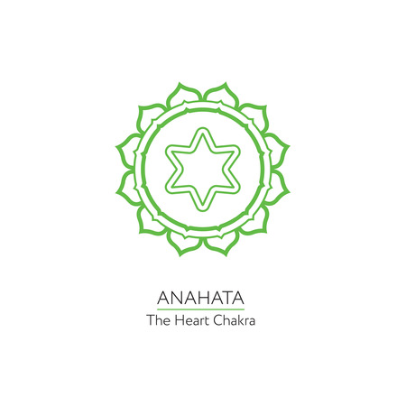 anahata: Anahata. Chakra vector isolated minimalistic icon