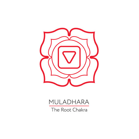 muladhara: Muladhara. Chakra vector isolated minimalistic icon