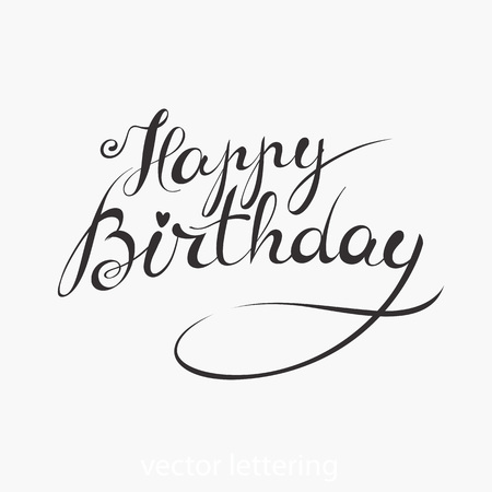 Happy Birthday - handmade vector lettering - template for card, poster, banner