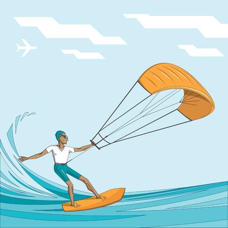 Kite surfer on summer ocean - man in sunglasses on orange waterboard - vector editable illustration. Extreme sport concept for poster, banner, card.