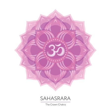 chakra energy: Sahasrara. Chakra vector isolated multicolored icon - for yoga studio, banner, poster. Editable concept. Illustration