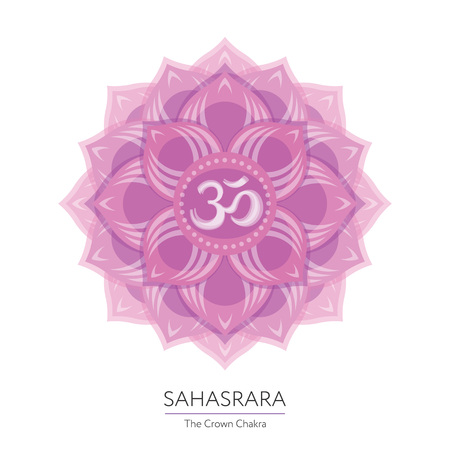 Sahasrara. Chakra vector isolated multicolored icon - for yoga studio, banner, poster. Editable concept. Illustration