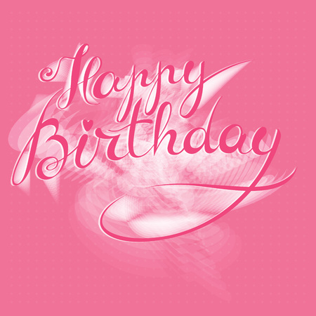 Happy Birthday - hand lettering card, greeting message, postcard banner, label. Editable vector typographic composition, handmade calligraphy. Stock Vector - 73037742