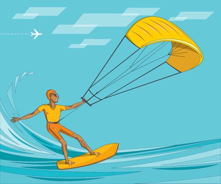 kitesurfeur sur l'océan d'été - l'homme dans des lunettes de soleil sur waterboard d'orange - illustration vectorielle modifiable. concept de sport extrême pour l'affiche, bannière, carte.