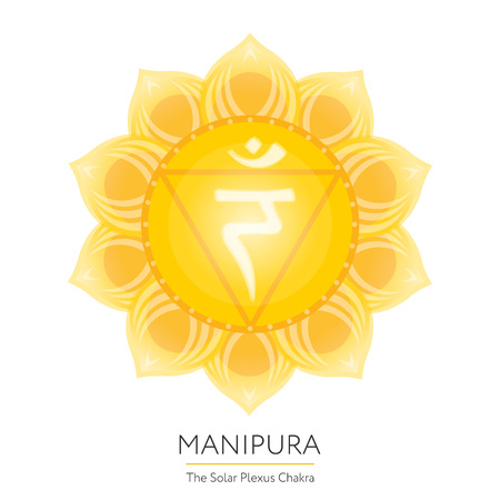 sanskrit: Manipura. Chakra vector isolated multicolored icon - for yoga studio, banner, poster. Editable concept.