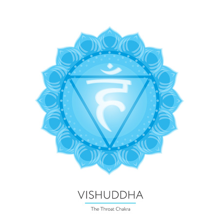 Vishuddha. Chakra vector isolated multicolored icon - for yoga studio, banner, poster. Editable concept.