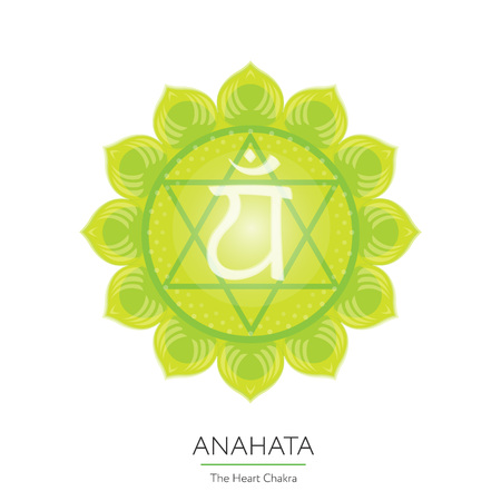 sanskrit: Anahata. Chakra vector isolated multicolored icon - for yoga studio, banner, poster. Editable concept. Illustration