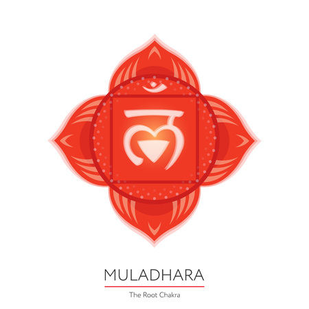 Muladhara. Chakra vector isolated multicolored icon - for yoga studio, banner, poster. Editable concept.