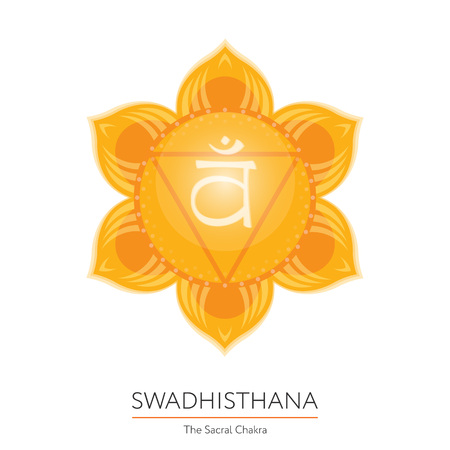 sanskrit: Swadhisthana. Chakra vector isolated multicolored icon - for yoga studio, banner, poster. Editable concept. Illustration