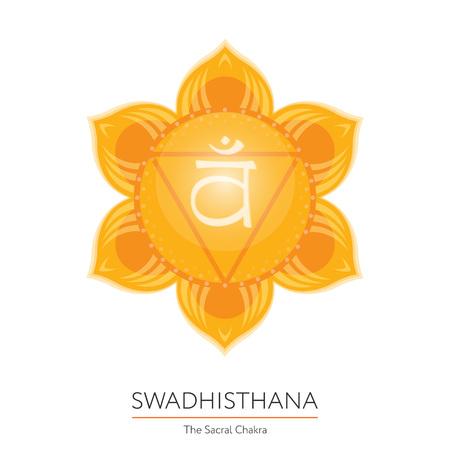 Swadhisthana. Chakra vector isolated multicolored icon - for yoga studio, banner, poster. Editable concept. Illustration