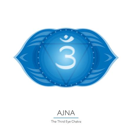 Ajna. Chakra vector isolated multicolored icon - for yoga studio, banner, poster. Editable concept. Stock Vector - 75318152