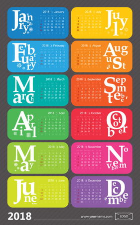 Creative calendar 2018, rainbow design. Holidays selected, english. Stock Vector - 75533547