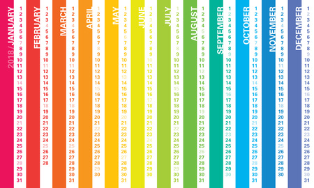 Creative calendar 2018 with vertical rainbow lines design