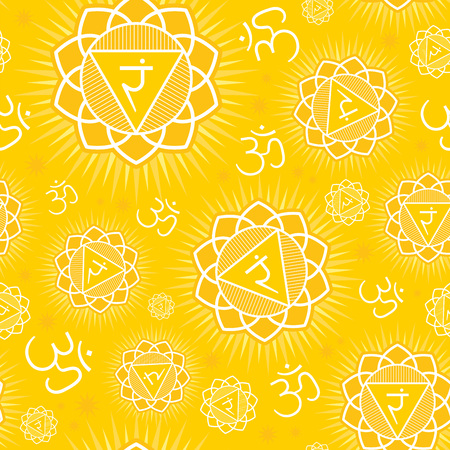 Seamless repeat pattern with primary chakra Manipura - symbol of the energy center of human body, used in Hinduism, Buddhism, Yoga and Ayurveda. Vector.