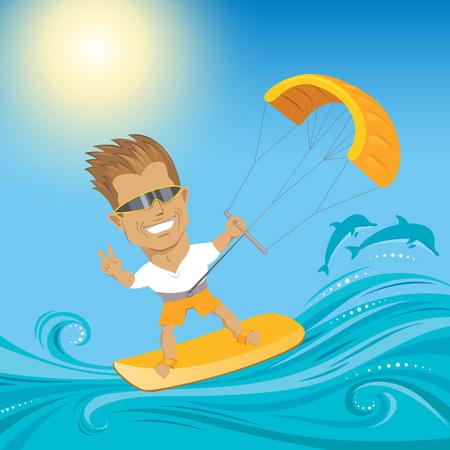 Kitesurfer on the waves in ocean