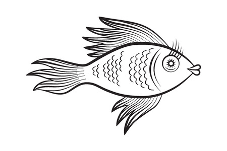 golden fish illustration - coloring page