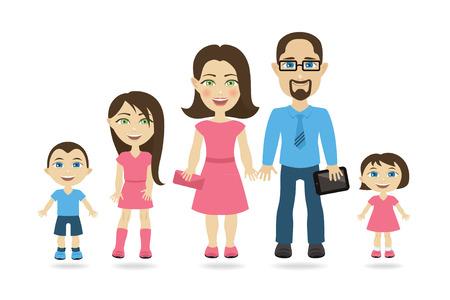 Famille traditionnelle avec deux parents et trois enfants