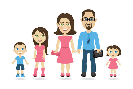 Traditional family with two parents and three children Illustration