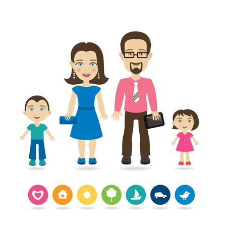 Happy family with children Illustration