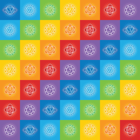 Seamless repeat pattern with chakras of human body Stock Vector - 122258542