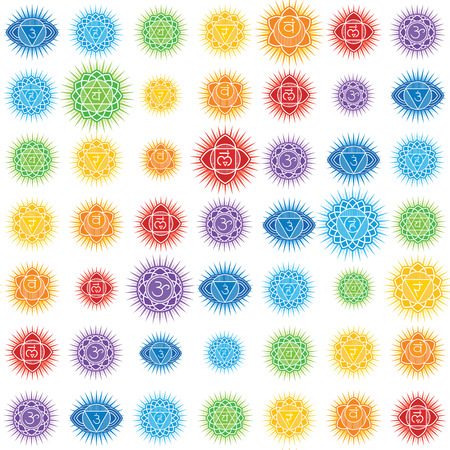 Seamless repeat pattern with chakras of human body Stock Vector - 122258544